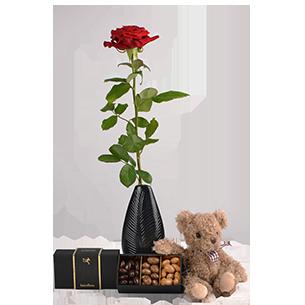 Bouquet de roses Trio de tendresse ourson