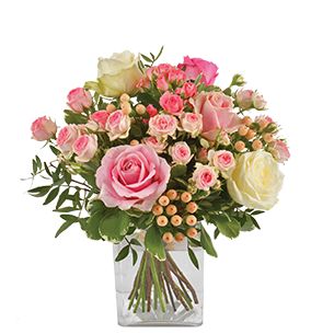 Bouquet de roses Vanille fraise Tulipes