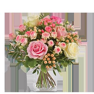 Bouquet de roses Vanille fraise Muguet