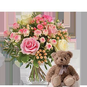 Bouquet de roses Vanille fraise et son ourson Harry ourson