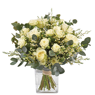 Bouquet de roses Vert coton Tulipes