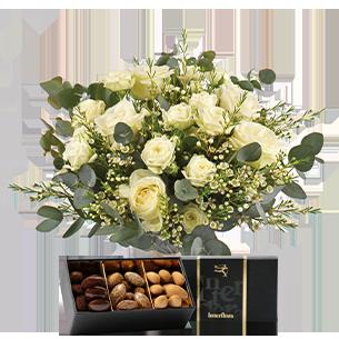 Bouquet de roses Vert coton et ses amandes au chocolat Mariage