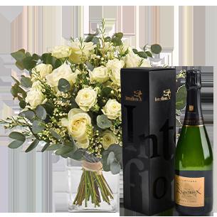 Bouquet de roses Vert coton et son champagne Devaux Mariage