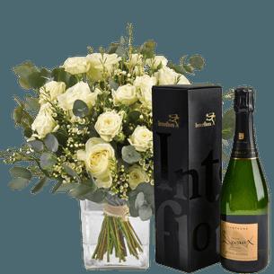 Bouquet de roses Vert coton et son champagne Devaux Collection Homme Festif