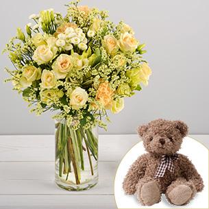 Bouquet de fleurs Auréal et son ourson Harry Fleur jaune