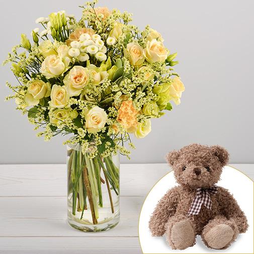 Bouquet de fleurs Auréal et son ourson Harry