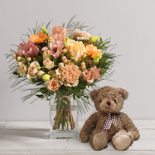 Bouquet de fleurs Boudoir et son ourson Harry