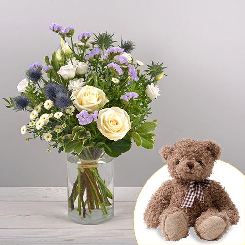 Bouquet de fleurs Blueberry et son ourson Harry
