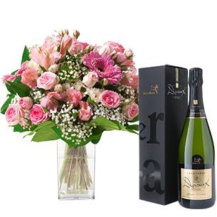 Bouquet de fleurs Bonheur et son champagne Devaux-Interflora Collection Homme Festif
