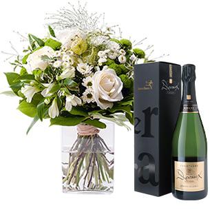 Bouquet de fleurs Confidence et son champagne Devaux Interflora Cadeau Mariage