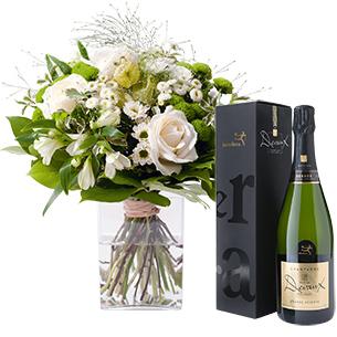 Bouquet de fleurs Confidence et son champagne Devaux Interflora Mariage invité