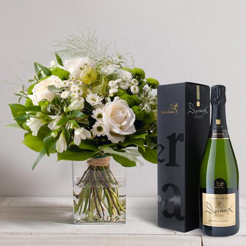 Bouquet de fleurs Confidence et son champagne Devaux-Interflora