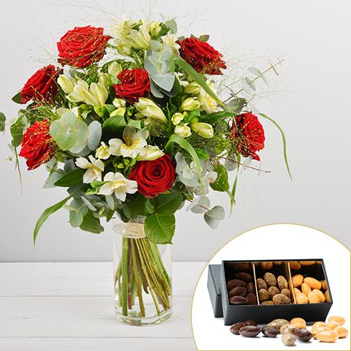 Bouquet de fleurs Dolce vita et ses amandes au chocolat