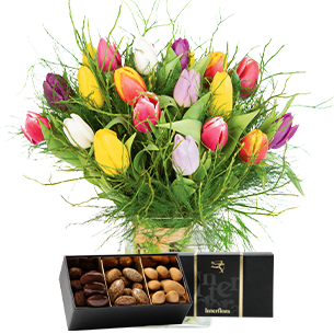 Bouquet de fleurs Nos charmantes tulipes et leurs douceurs au chocolat Tulipes