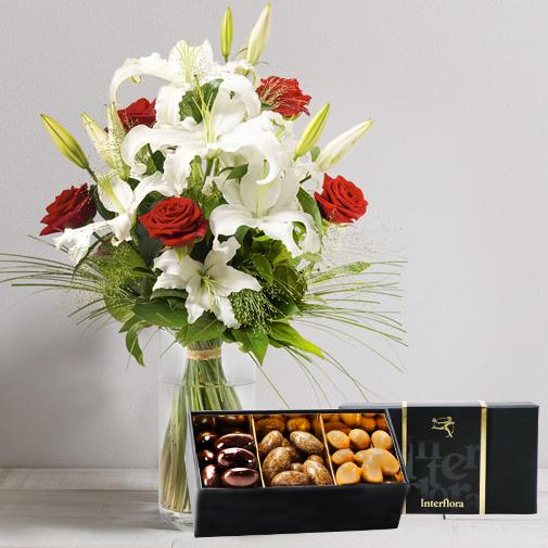 Bouquet de fleurs Orphée et son écrin d'amandes gourmandes
