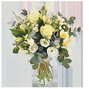 Bouquet de fleurs Paradis blanc Félicitations