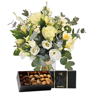 Bouquet de fleurs Paradis blanc et ses amandes au chocolat Mariage