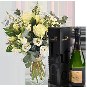 Bouquet de fleurs Paradis blanc et son champagne Devaux Mariage