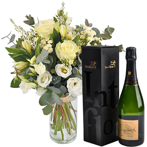 Bouquet de fleurs Paradis blanc et son champagne Devaux