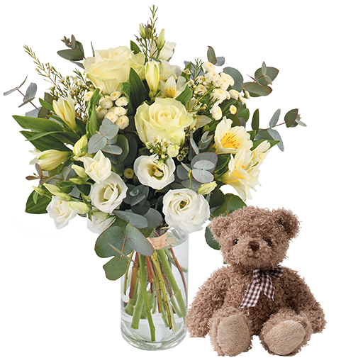 Bouquet de fleurs Paradis blanc et son ourson Harry