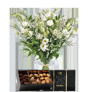 Bouquet de fleurs Plumetis et ses amandes au chocolat Mariage