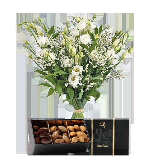 Bouquet de fleurs Plumetis et ses amandes au chocolat