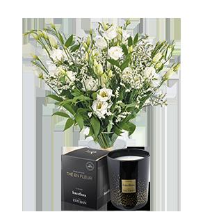 Bouquet de fleurs Plumetis et sa bougie parfumée Esteban Mariage