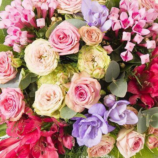 Bouquet de fleurs Soie et son vase offert