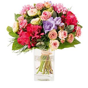 Bouquet de fleurs Soie et son vase offert  Anniversaire