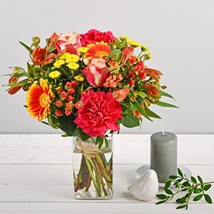Bouquet de fleurs Tutti frutti et son vase offert Amour