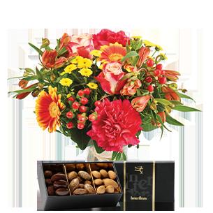 Bouquet de fleurs Tutti frutti et ses amandes au chocolat Pâques