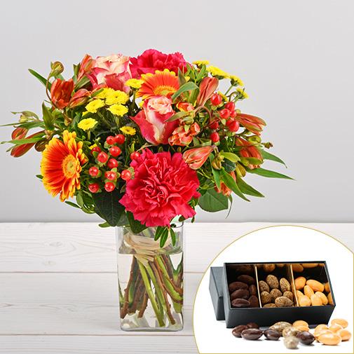 Bouquet de fleurs Tutti frutti et ses amandes au chocolat