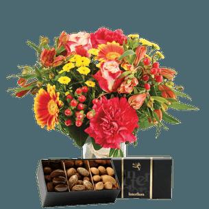 Bouquet de fleurs Tutti frutti et ses amandes au chocolat Fête des Pères