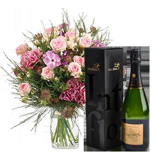 Bouquet de fleurs Velours et son champagne Devaux Remerciements