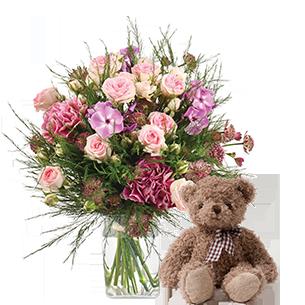 Bouquet de fleurs Velours et son ourson Harry ourson