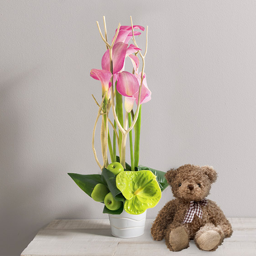 Composition florale Caprice et l'ourson Harry