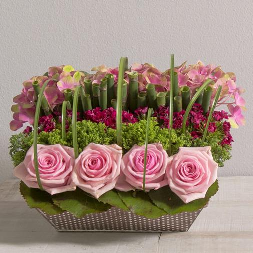 Composition florale Satin