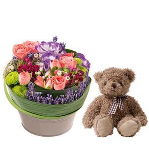 Composition florale Trésor et l'ourson Harry ourson
