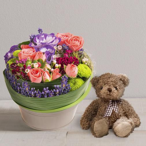 Composition florale Trésor et l'ourson Harry