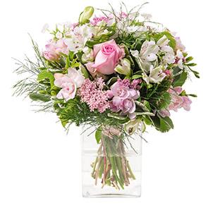 Rosa et son vase offert - interflora