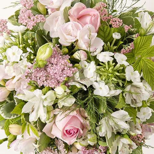 Bouquet de fleurs Rosa et son vase offert