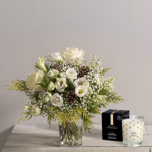 Bouquet de fleurs Flocon et sa bougie parfumée