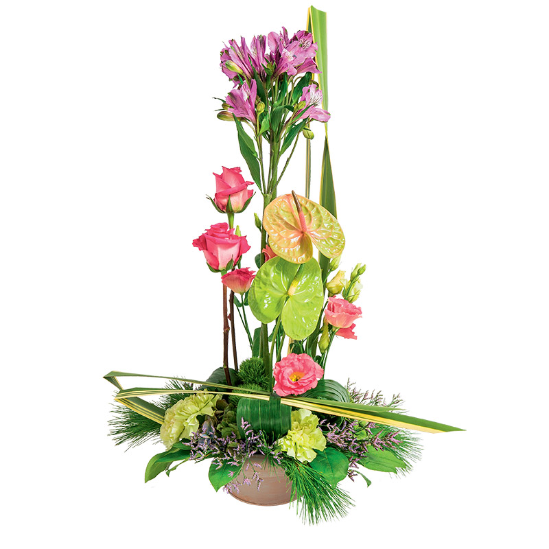 composition contemporaine de fleurs piqu es en hauteur interflora. Black Bedroom Furniture Sets. Home Design Ideas