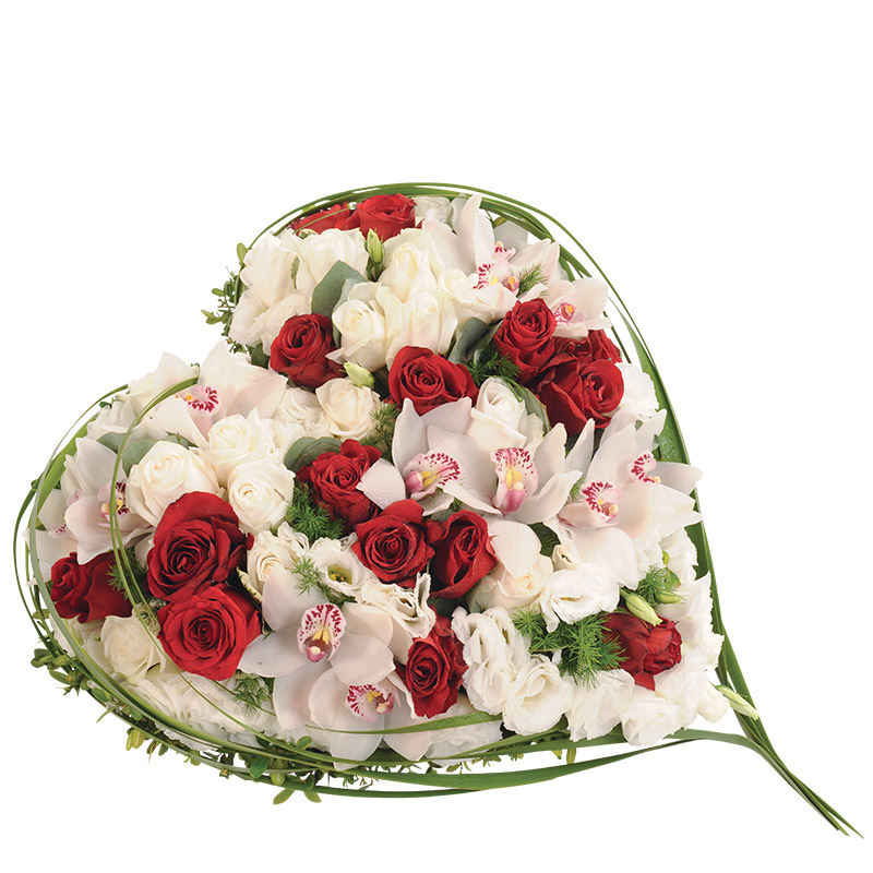 c ur plein avec roses rouges et orchid es cymbidiums piqu es interflora. Black Bedroom Furniture Sets. Home Design Ideas
