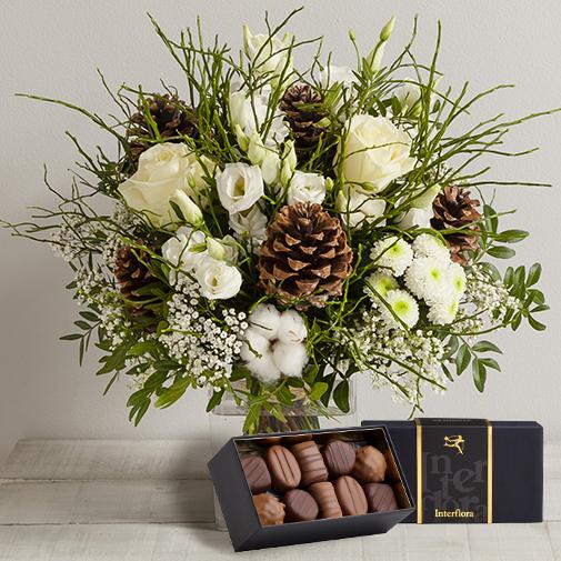 Fleurs et cadeaux Etoile des neiges et son écrin de chocolats