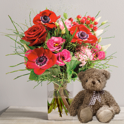 Fleurs et cadeaux Je t'aime et son ourson Harry