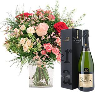 Bouquet de l'amour et son champagne Devaux - interflora