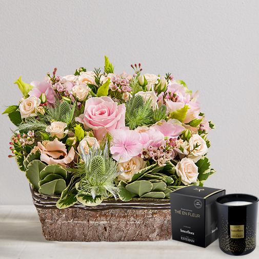 Fleurs et cadeaux Nuage de tendresse & bougie parfumée