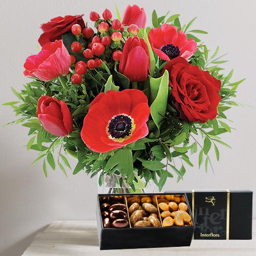 Fleurs et cadeaux Joyeuses fêtes et ses amandes gourmandes