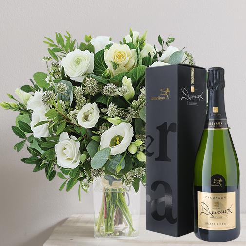 Fleurs et cadeaux Etoile des neiges et son champagne Devaux Interflora